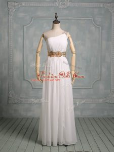 Modern Chiffon One Shoulder Sleeveless Side Zipper Beading Wedding Dress in White