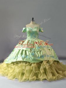 Luxury Sleeveless Chapel Train Lace Up Embroidery and Ruffles Vestidos de Quinceanera