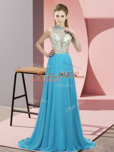 Sexy Aqua Blue Empire Beading Juniors Party Dress Backless Chiffon Sleeveless