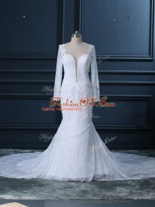 Adorable Tulle and Lace Long Sleeves Wedding Gown Court Train and Beading and Lace