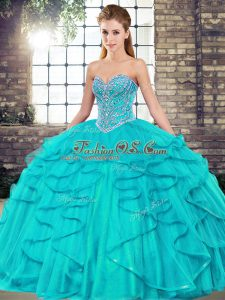 Tulle Sweetheart Sleeveless Lace Up Beading and Ruffles Quinceanera Dress in Aqua Blue