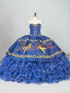 Dynamic Blue Ball Gowns Embroidery and Ruffled Layers 15 Quinceanera Dress Lace Up Satin and Organza Sleeveless