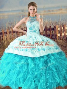 Ideal Aqua Blue Quinceanera Dresses Halter Top Sleeveless Court Train Lace Up