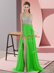 Best Selling Sleeveless Sweep Train Zipper Beading Prom Gown