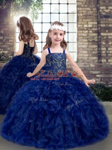 Blue Straps Neckline Beading and Ruffles Kids Pageant Dress Sleeveless Lace Up