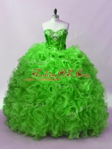 Flirting Floor Length Green Vestidos de Quinceanera Organza Sleeveless Beading and Ruffles