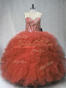 Ball Gowns 15th Birthday Dress Rust Red Sweetheart Tulle Sleeveless Floor Length Lace Up