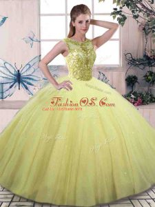 Yellow Green Tulle Lace Up Scoop Sleeveless Floor Length Quinceanera Gown Beading