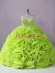 Lovely Yellow Green Quinceanera Gown Sweetheart Sleeveless Brush Train Lace Up
