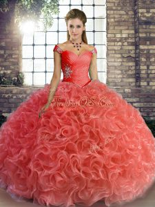 Inexpensive Off The Shoulder Sleeveless Fabric With Rolling Flowers Quince Ball Gowns Beading Lace Up
