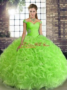 Pretty Lace Up Off The Shoulder Beading Quinceanera Dress Fabric With Rolling Flowers Sleeveless