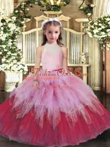 Multi-color Tulle Backless Little Girls Pageant Gowns Sleeveless Floor Length Ruffles