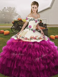 Sumptuous Floor Length Lace Up Quinceanera Dresses Fuchsia for Military Ball and Sweet 16 and Quinceanera with Embroidery and Ruffled Layers