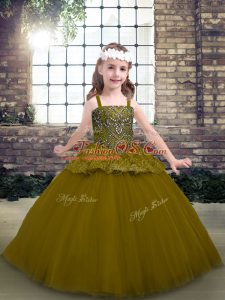 Olive Green Straps Neckline Beading Little Girls Pageant Gowns Sleeveless Lace Up