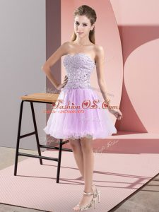 Affordable Lavender Sleeveless Tulle Zipper Dress for Prom for Prom and Party