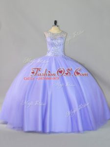 Fantastic Sleeveless Tulle Floor Length Zipper 15 Quinceanera Dress in Lavender with Sequins