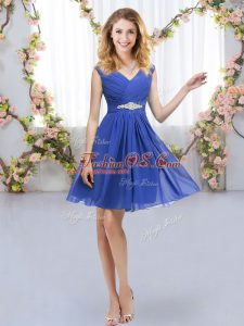Trendy Sleeveless Chiffon Mini Length Zipper Bridesmaid Gown in Blue with Belt
