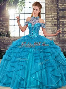 Tulle Halter Top Sleeveless Lace Up Beading and Ruffles 15th Birthday Dress in Blue