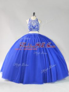 Beauteous Royal Blue Backless Quinceanera Gowns Beading Sleeveless Floor Length