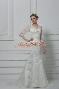White Lace Lace Up Wedding Gown 3 4 Length Sleeve Brush Train Lace and Hand Made Flower