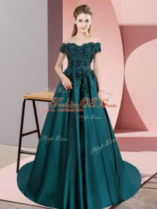 Sweet Satin Off The Shoulder Sleeveless Court Train Zipper Lace Sweet 16 Dress in Teal