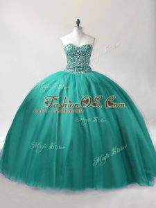 Turquoise Ball Gowns Sweetheart Sleeveless Tulle Floor Length Lace Up Beading Vestidos de Quinceanera