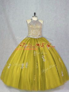 Olive Green Ball Gowns Tulle Halter Top Sleeveless Beading and Appliques Floor Length Lace Up Quinceanera Dresses