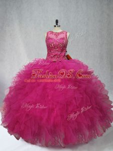 Shining Fuchsia Sleeveless Tulle Lace Up Sweet 16 Dresses for Sweet 16 and Quinceanera