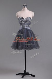 Customized Grey Zipper Sweetheart Beading Cocktail Dress Tulle Sleeveless