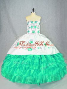 Turquoise Ball Gowns Embroidery and Ruffled Layers 15 Quinceanera Dress Lace Up Organza Sleeveless Floor Length