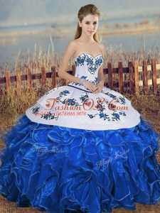 Exceptional Organza Sweetheart Sleeveless Lace Up Embroidery and Ruffles and Bowknot 15 Quinceanera Dress in Blue And White