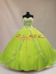 Court Train Ball Gowns Sweet 16 Dresses Sweetheart Tulle Sleeveless Lace Up