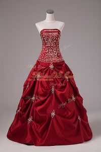 Fashionable Wine Red Lace Up Strapless Embroidery and Pick Ups Sweet 16 Dresses Taffeta Sleeveless