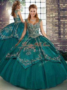Edgy Sleeveless Tulle Floor Length Lace Up Sweet 16 Quinceanera Dress in Teal with Beading and Embroidery