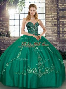 Tulle Sweetheart Sleeveless Lace Up Beading and Embroidery 15th Birthday Dress in Turquoise
