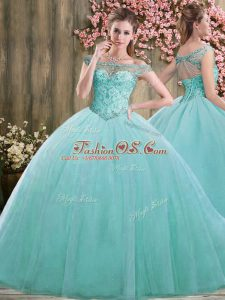 Classical Blue Sleeveless Floor Length Beading Lace Up Quinceanera Gowns
