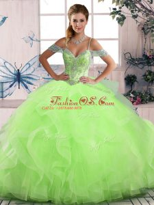 Floor Length Quinceanera Gowns Off The Shoulder Sleeveless Lace Up