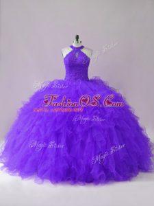 Purple Sleeveless Beading and Ruffles Floor Length 15 Quinceanera Dress