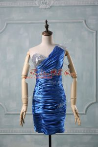 Modest Blue Sleeveless Taffeta Zipper Prom Evening Gown for Prom and Party