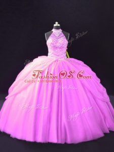 Tulle Sleeveless Floor Length Ball Gown Prom Dress and Beading and Pick Ups