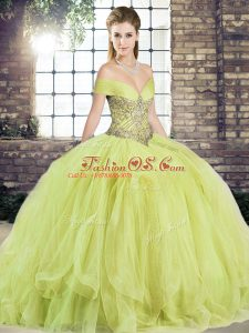 Off The Shoulder Sleeveless Quince Ball Gowns Floor Length Beading and Ruffles Yellow Green Tulle