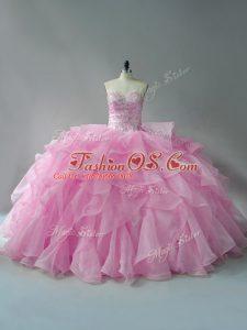 Flirting Baby Pink Sweetheart Lace Up Beading and Ruffles Sweet 16 Dress Sleeveless