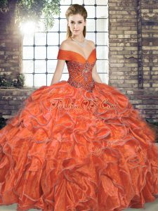 Custom Design Sleeveless Beading and Ruffles Lace Up Quinceanera Gown