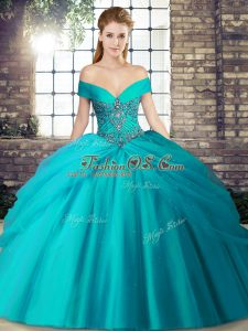 Teal Tulle Lace Up Off The Shoulder Sleeveless Quince Ball Gowns Brush Train Beading and Pick Ups