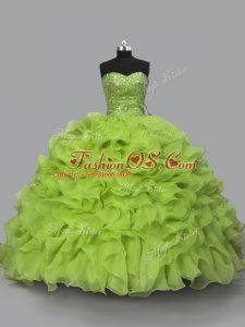 Super Sleeveless Floor Length Beading and Ruffles Lace Up Vestidos de Quinceanera with Yellow Green