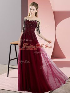 Floor Length Burgundy Bridesmaids Dress Chiffon Half Sleeves Beading and Lace