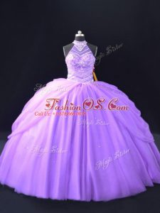 Attractive Lavender Halter Top Beading and Pick Ups Quince Ball Gowns Tulle Sleeveless