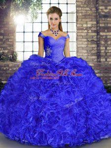 Floor Length Royal Blue 15th Birthday Dress Organza Sleeveless Beading and Ruffles