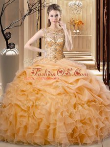 Modern Sleeveless Beading and Ruffles Lace Up Quinceanera Gowns