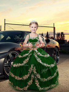 High Quality Dark Green Sleeveless Floor Length Embroidery Lace Up Winning Pageant Gowns